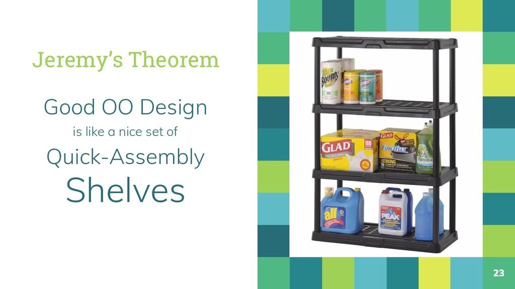 Jeremy's Theorem Good OO Design is like a nice ...