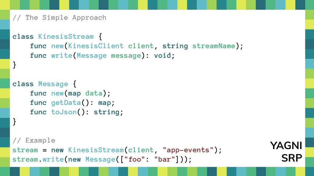 32 // The Simple Approach class KinesisStream {...