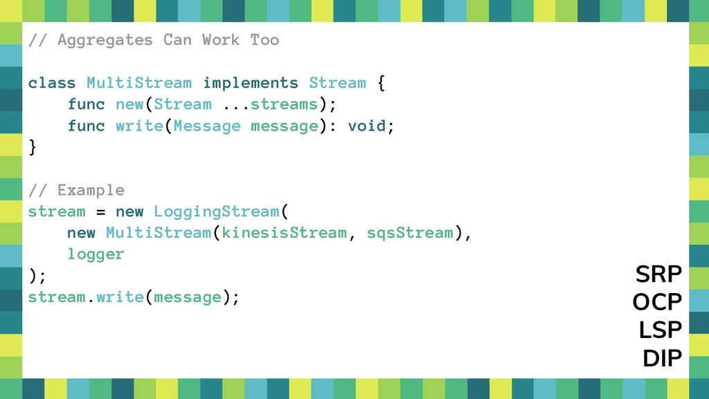 42 // Aggregates Can Work Too class MultiStream...
