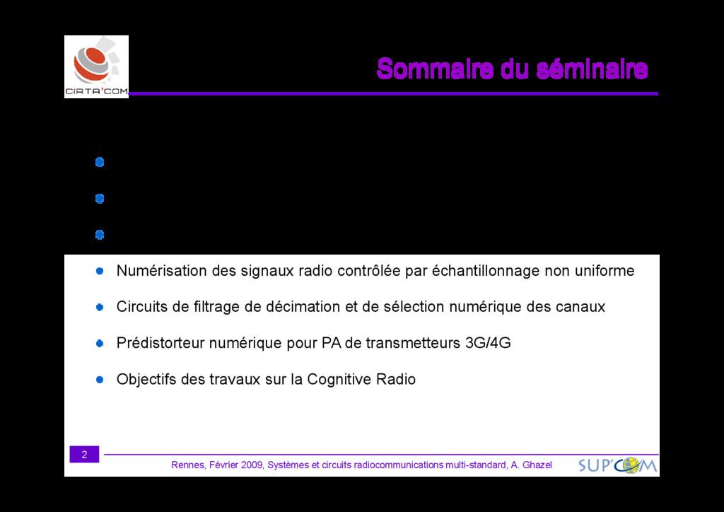 Sommaire du séminaire Présentation générale de ...