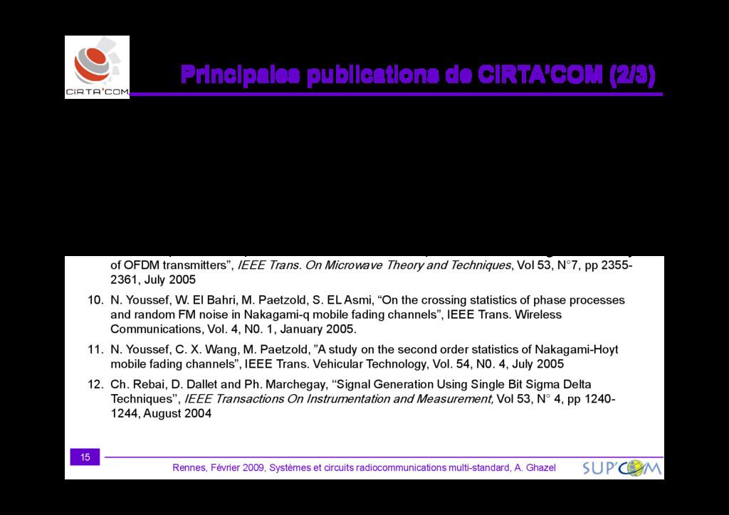 Principales publications de CIRTA'COM ( Princip...