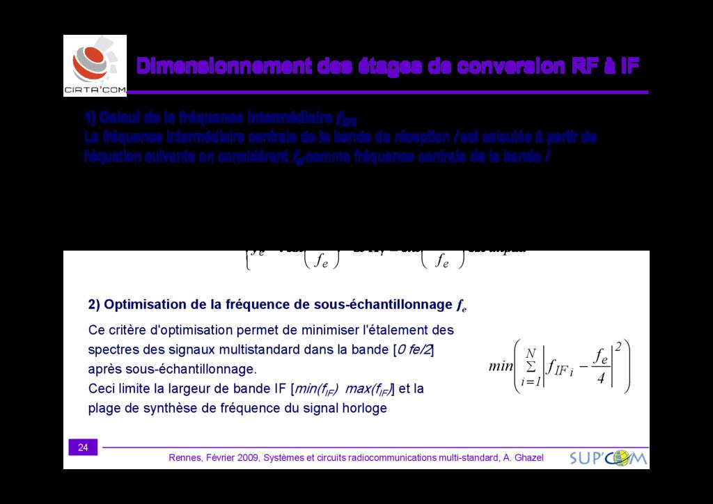Dimensionnement des étages de conversion RF à I...