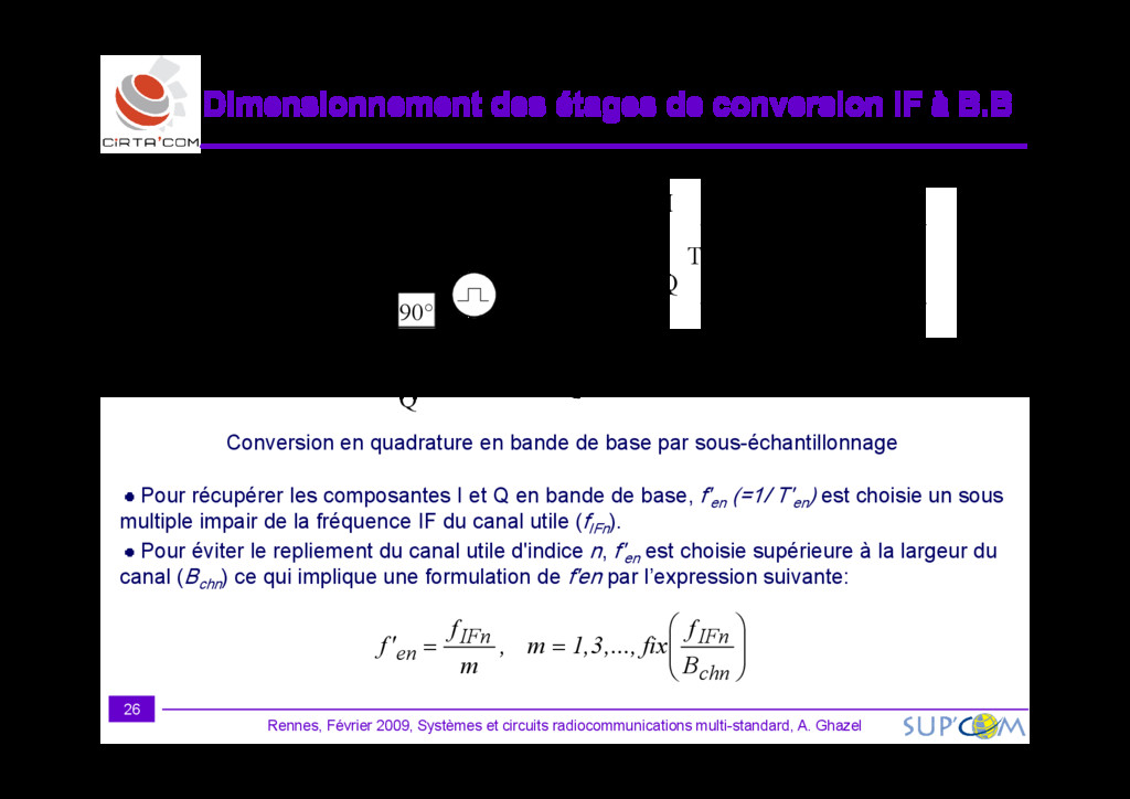 Dimensionnement des étages de conversion IF à B...