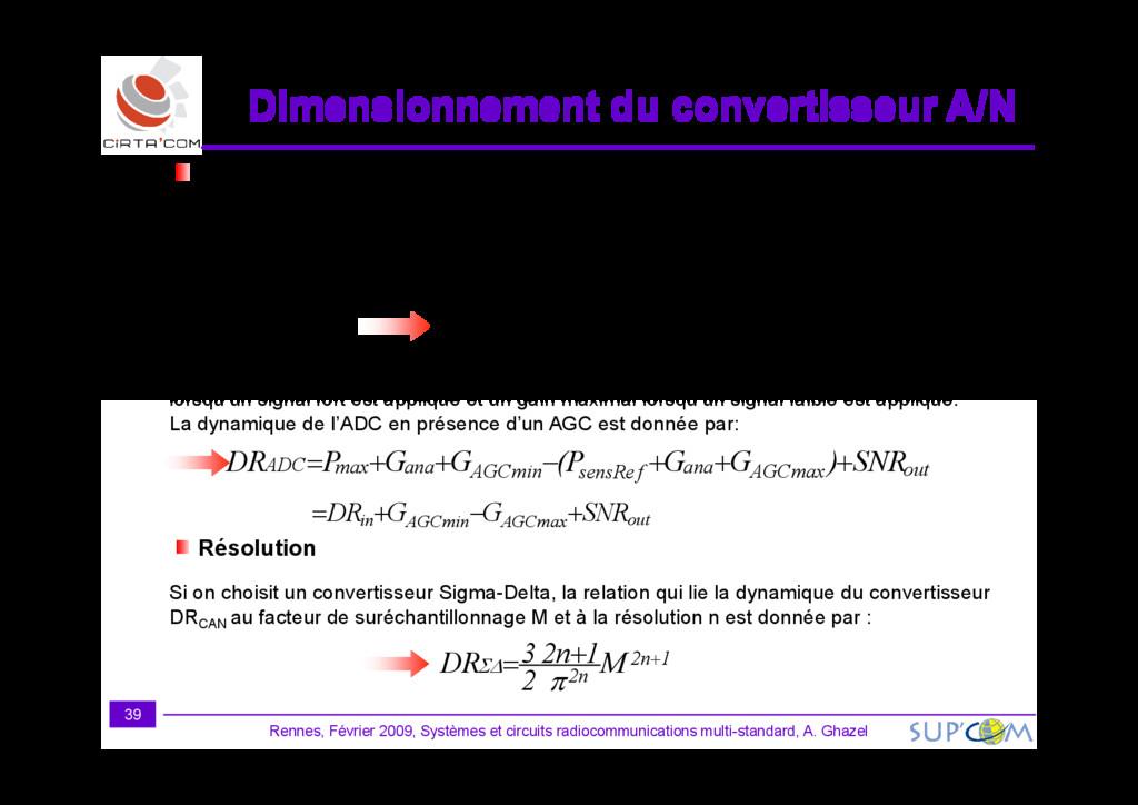Dimensionnement du convertisseur A/N Dimensionn...