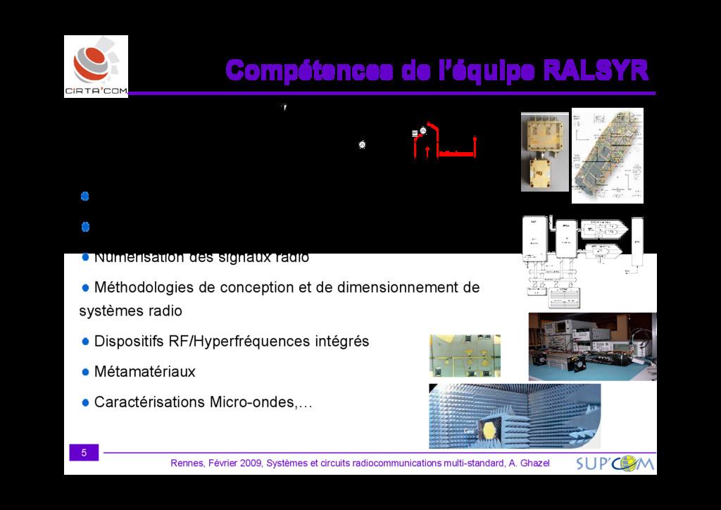 Compétences de l'équipe RALSYR Compétences de l...