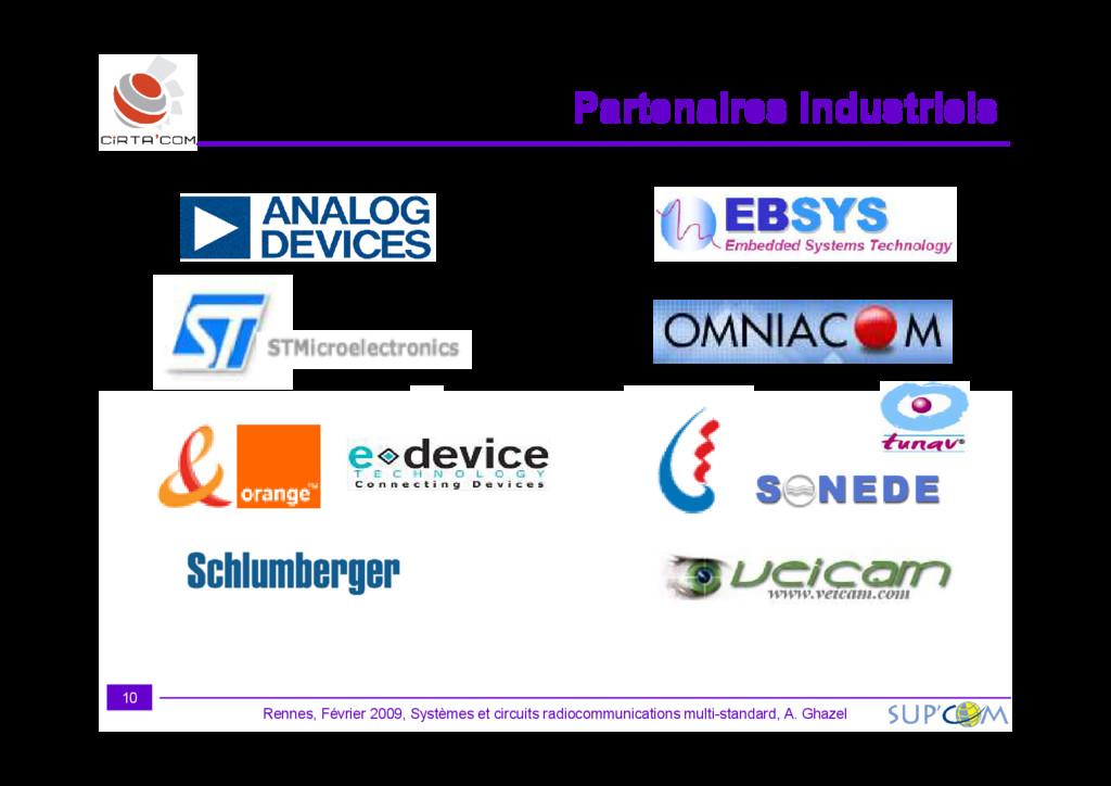 Partenaires industriels Partenaires industriels...