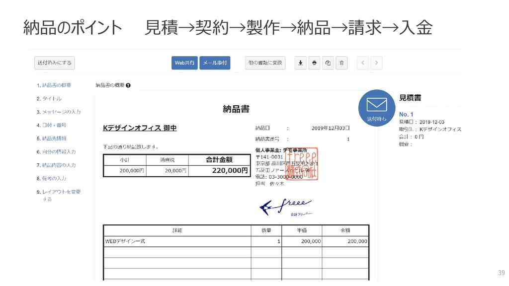 納品のポイント 見積→契約→製作→納品→請求→入金 39