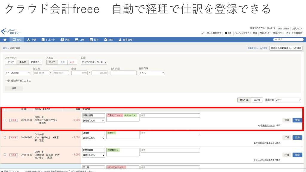 クラウド会計freee 自動で経理で仕訳を登録できる