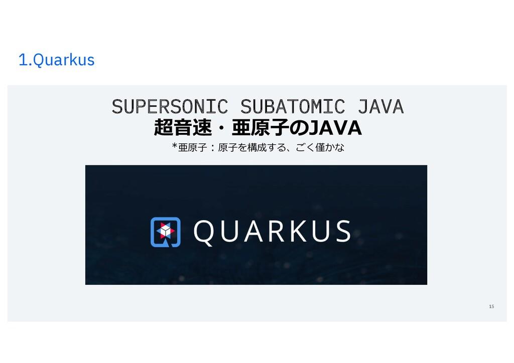 1.Quarkus 15 SUPERSONIC SUBATOMIC JAVA 超⾳速・亜原⼦の...