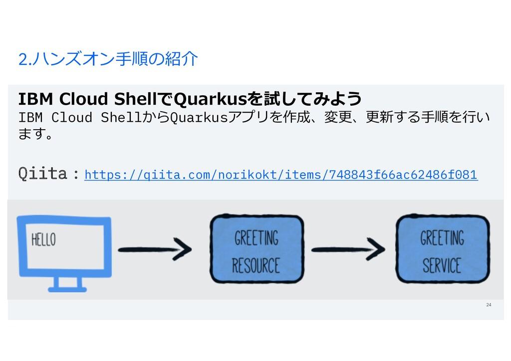 2.ハンズオン⼿順の紹介 IBM Cloud ShellでQuarkusを試してみよう IBM...