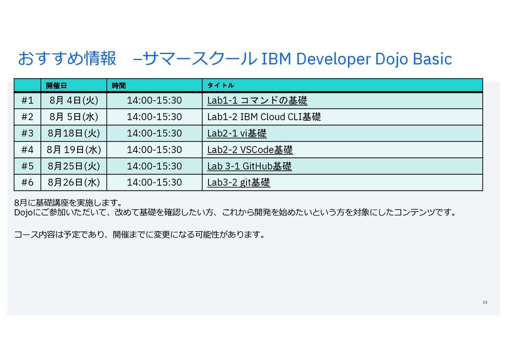 おすすめ情報 –サマースクール IBM Developer Dojo Basic 34 開催日...