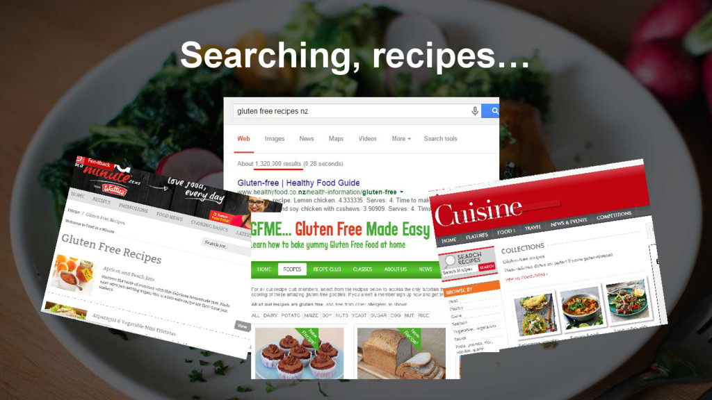 Searching, recipes…