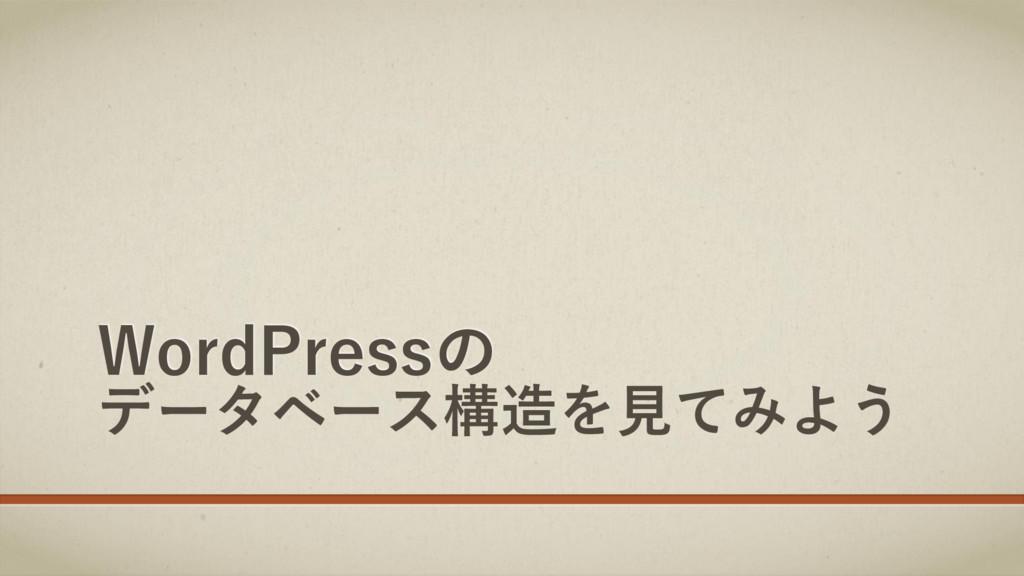 WordPressの データベース構造を見てみよう