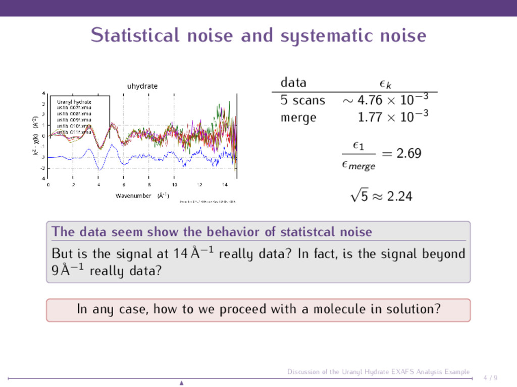 Statistical noise and systematic noise data k 5...