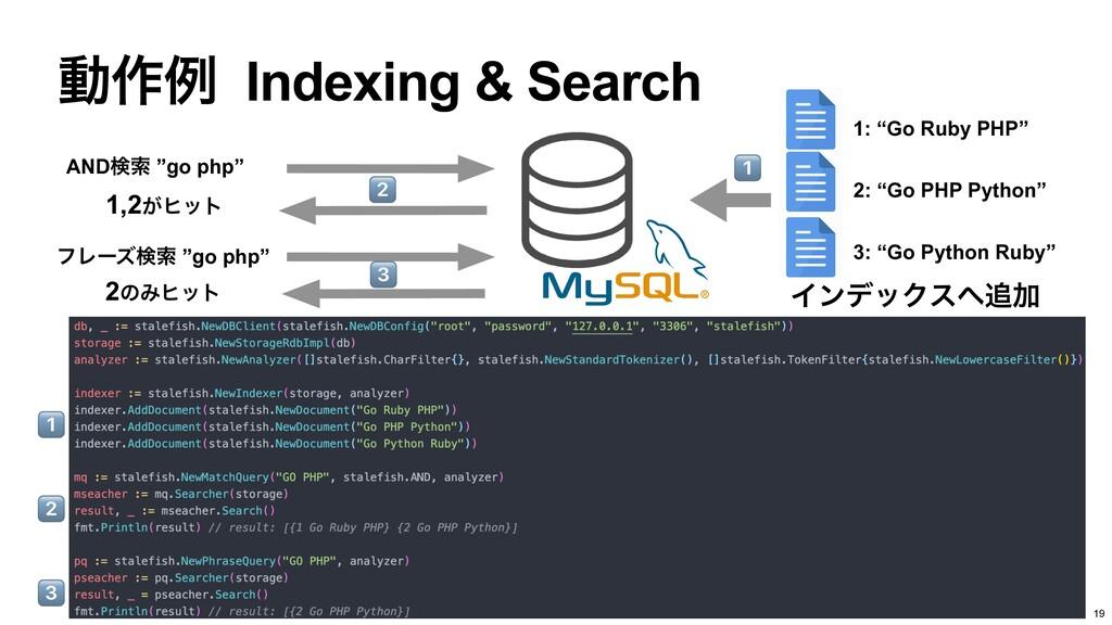 """ಈ࡞ྫ Indexing & Search 19 ΠϯσοΫεՃ 1: """"Go Ruby ..."""