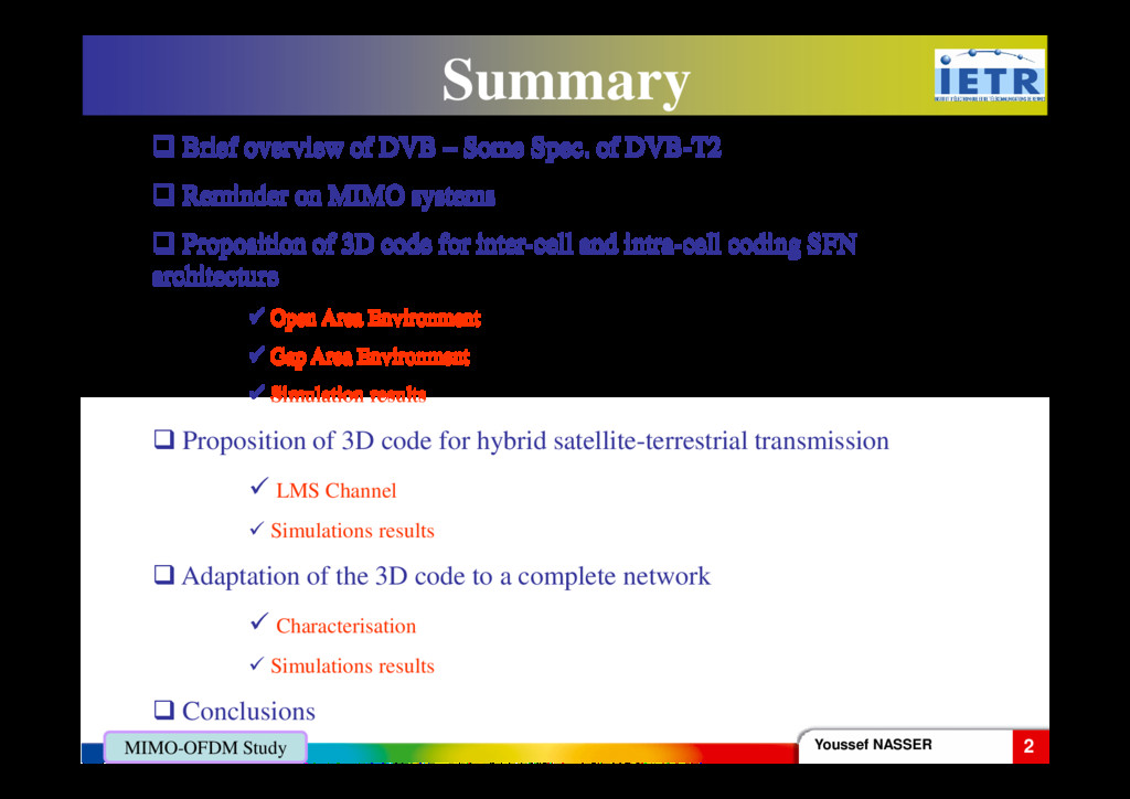 Summary Brief overview of DVB – Some Spec. of D...