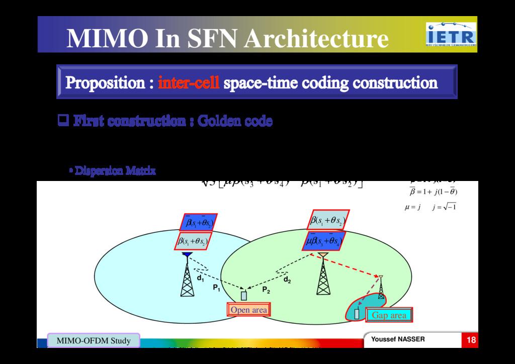 • Dispersion Matrix First construction : Golden...