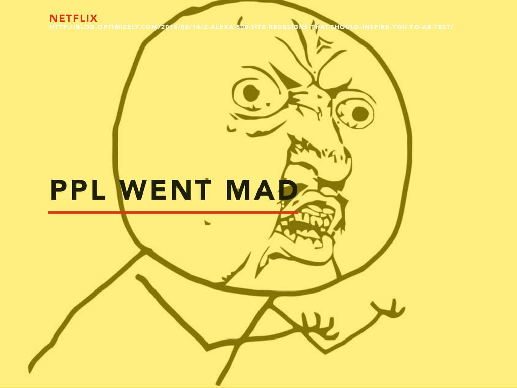 PPL WENT MAD NETFLIX HTTP://BLOG.OPTİMİZELY.COM...