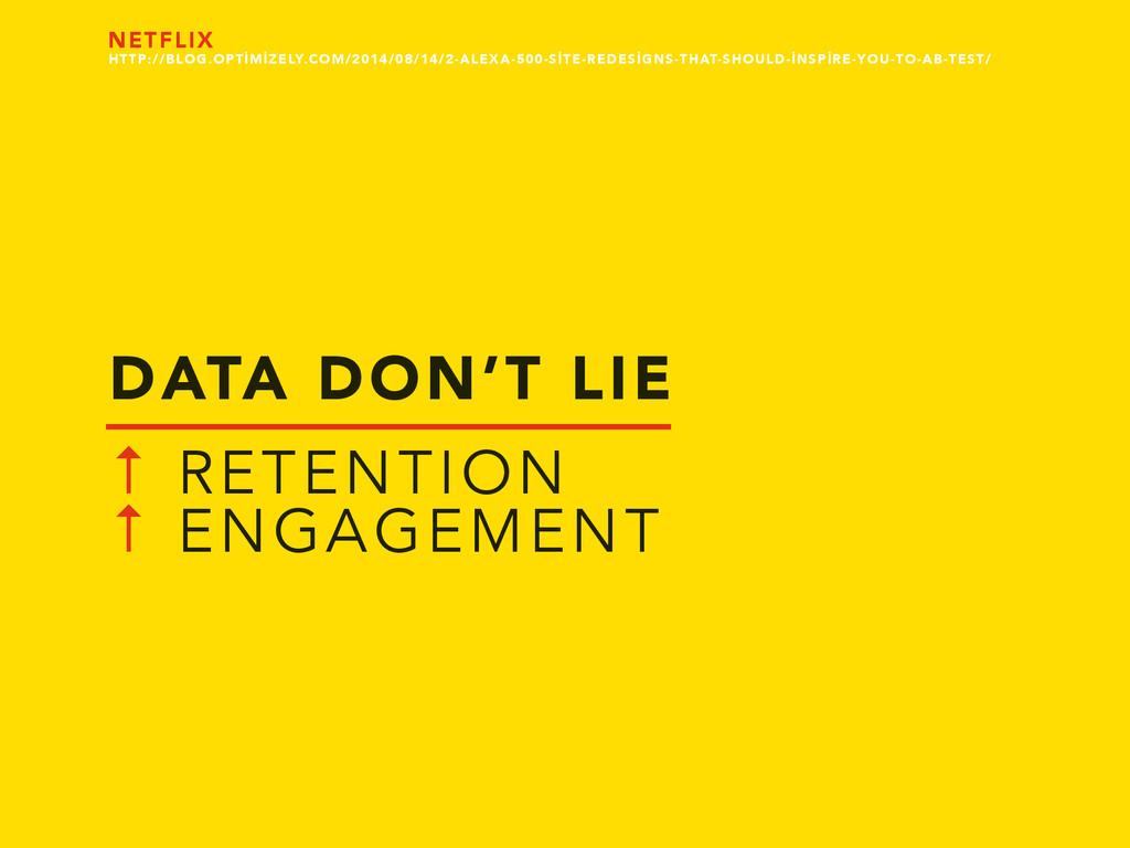 DATA DON'T LIE ↑ RETENTION ↑ ENGAGEMENT NETFLIX...