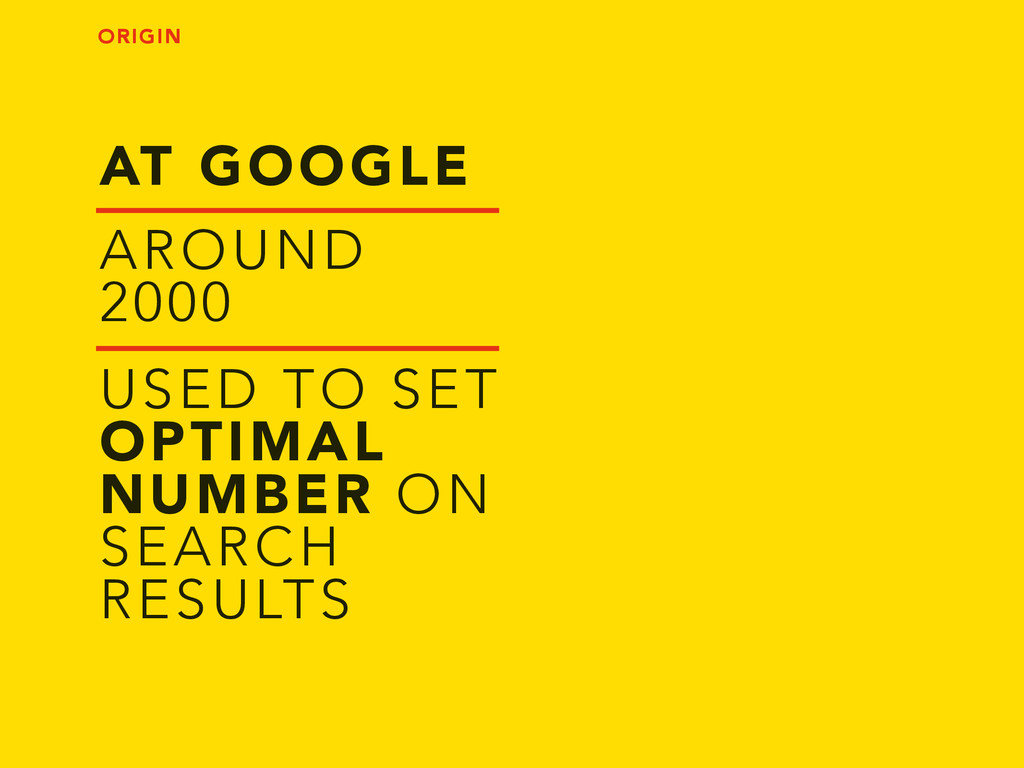 AT GOOGLE USED TO SET OPTIMAL NUMBER ON SEARCH ...