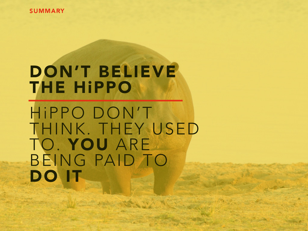 DON'T BELIEVE THE HiPPO HiPPO DON'T THINK. THEY...