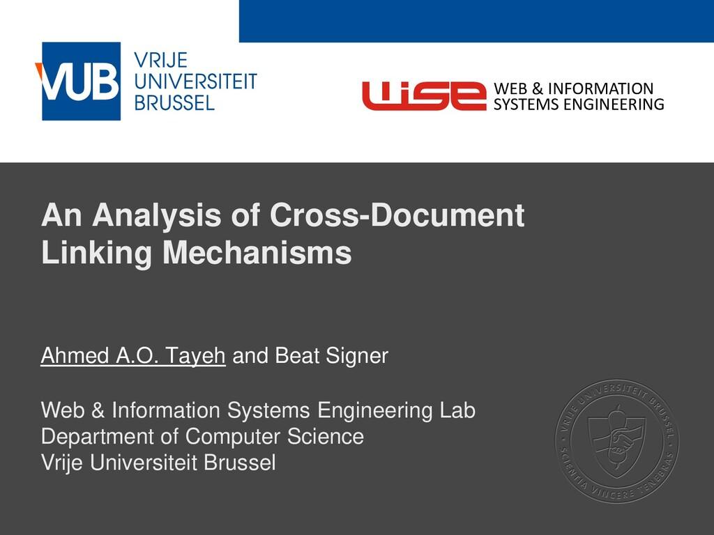 2 December 2005 An Analysis of Cross-Document L...