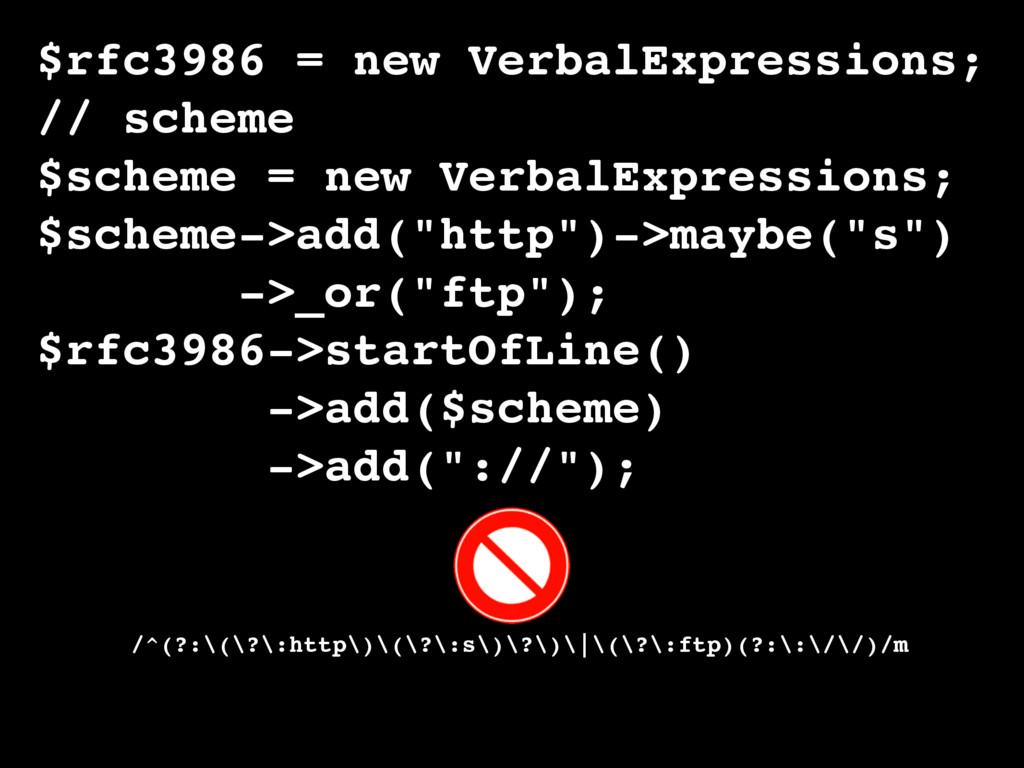 $rfc3986 = new VerbalExpressions; // scheme $sc...