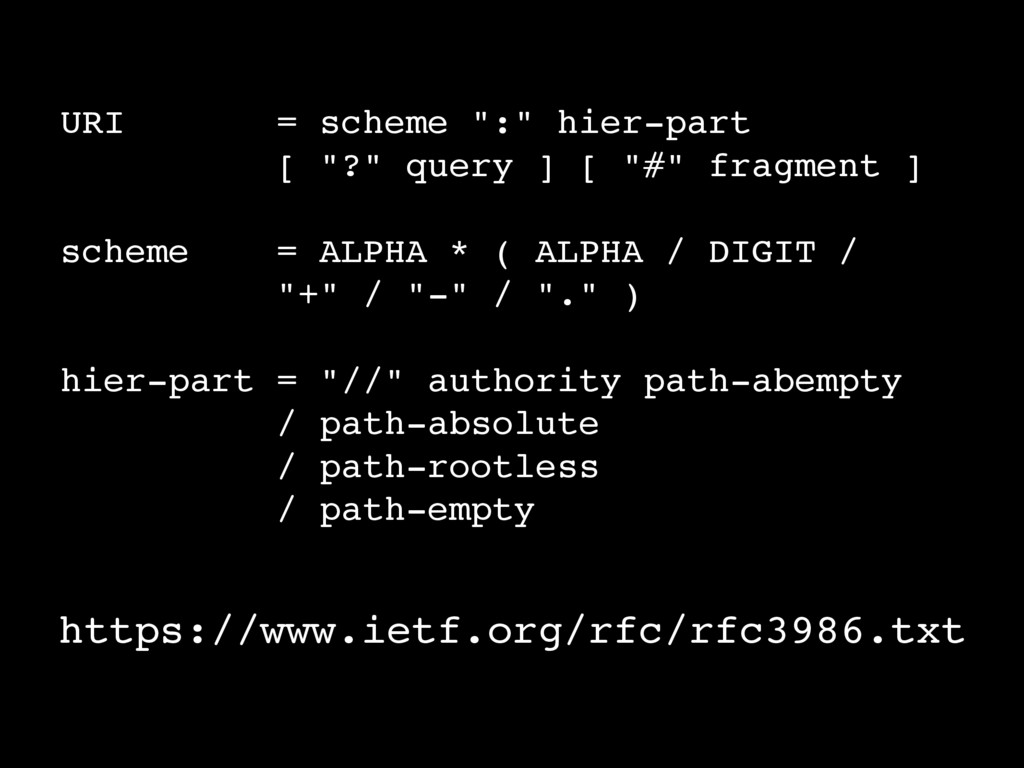 """URI = scheme """":"""" hier-part [ """"?"""" query ] [ """"#"""" ..."""