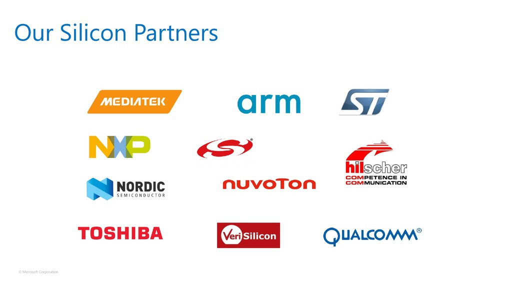 © Microsoft Corporation Our Silicon Partners