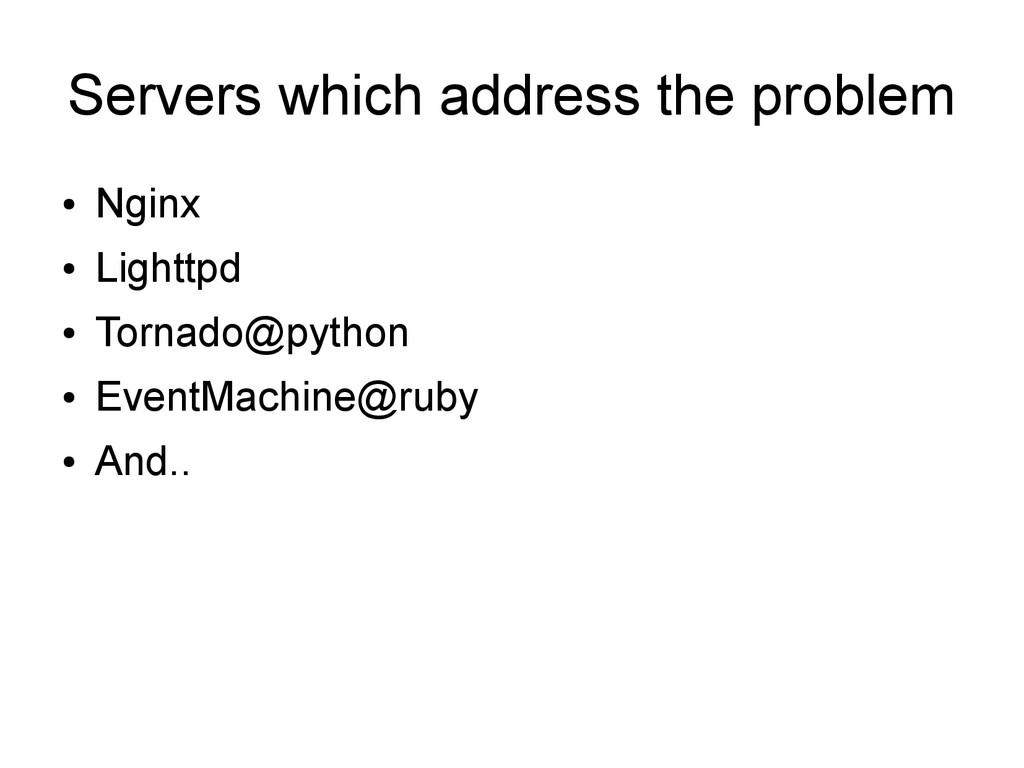 Servers which address the problem ● Nginx ● Lig...