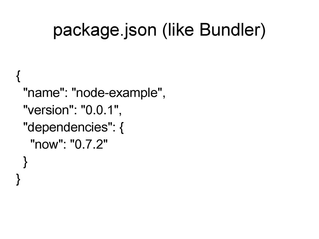 """package.json (like Bundler) { """"name"""": """"node-exa..."""