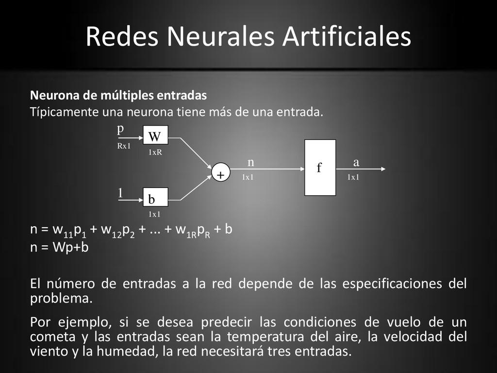 Redes Neurales Artificiales Neurona de múltiple...