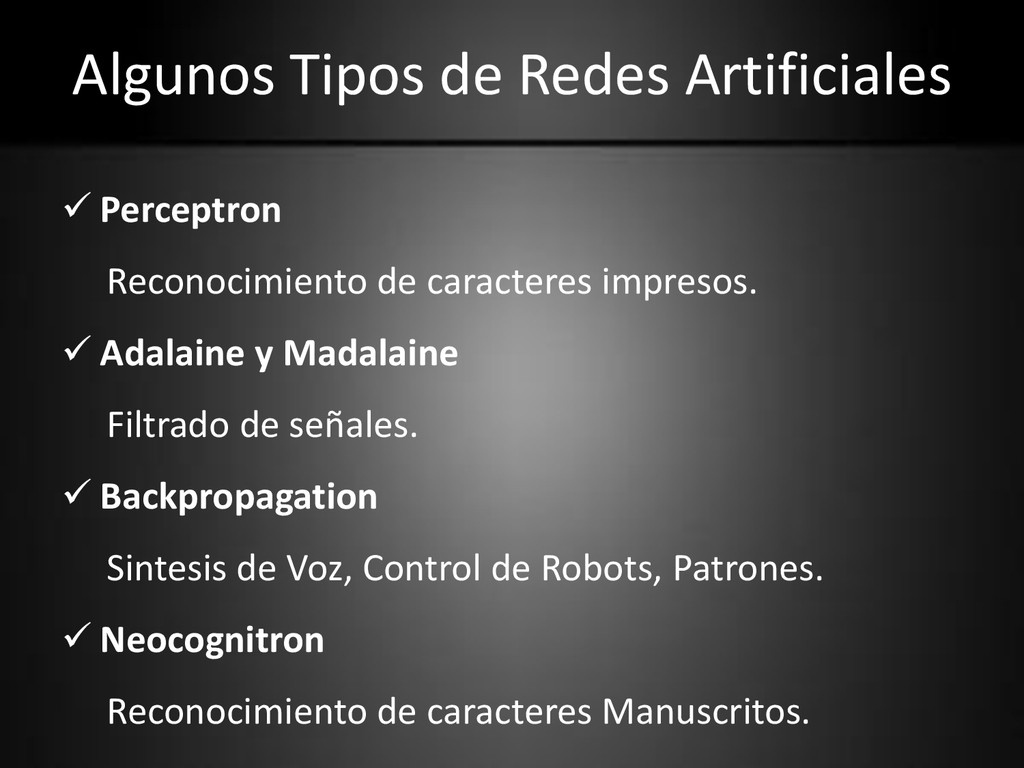 Algunos Tipos de Redes Artificiales  Perceptro...