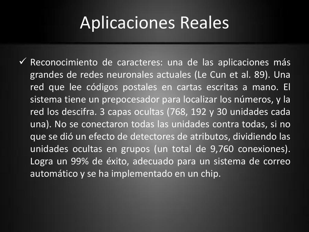 Aplicaciones Reales  Reconocimiento de caracte...