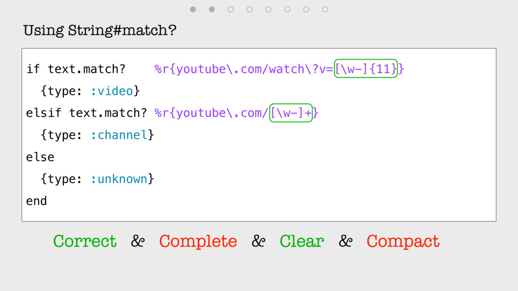 Using String#match? if text.match? %r{youtube\....