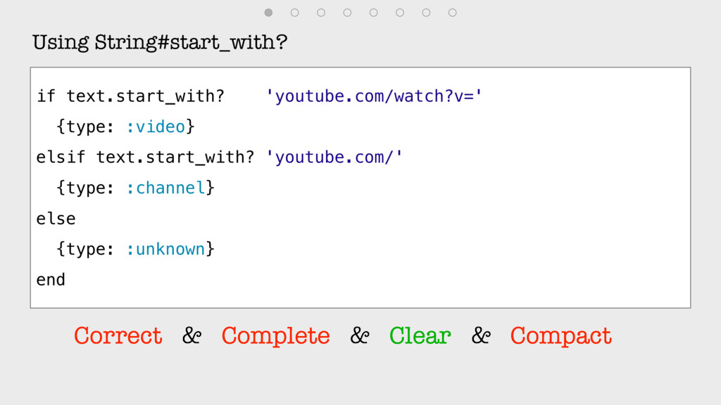 Using String#start_with? if text.start_with? 'y...