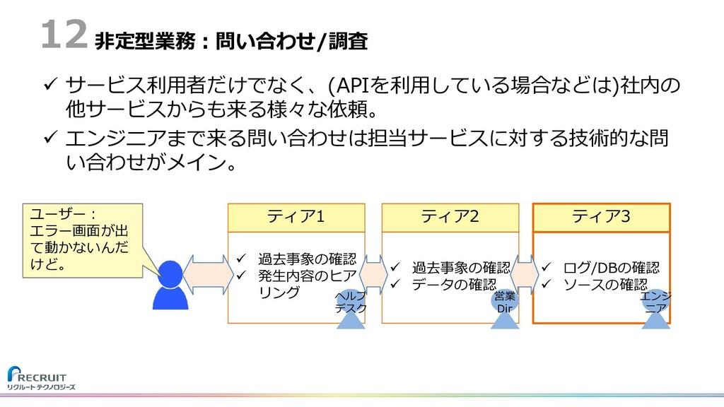 非定型業務:問い合わせ/調査  サービス利用者だけでなく、(APIを利用している場合などは)...