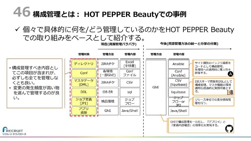 構成管理とは: HOT PEPPER Beautyでの事例  個々で具体的に何を/どう管理し...