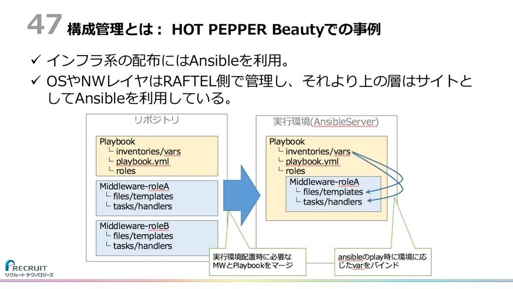 構成管理とは: HOT PEPPER Beautyでの事例  インフラ系の配布にはAnsib...