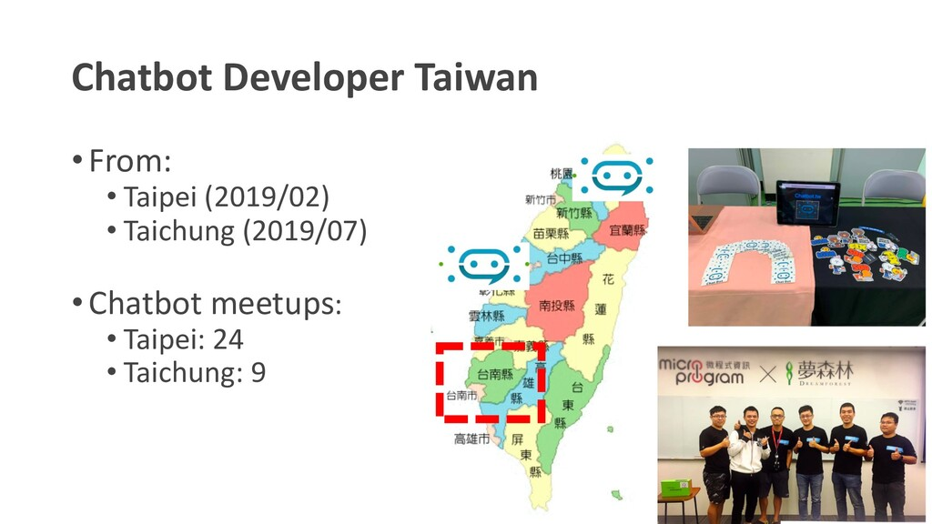 Chatbot Developer Taiwan •From: • Taipei (2019/...