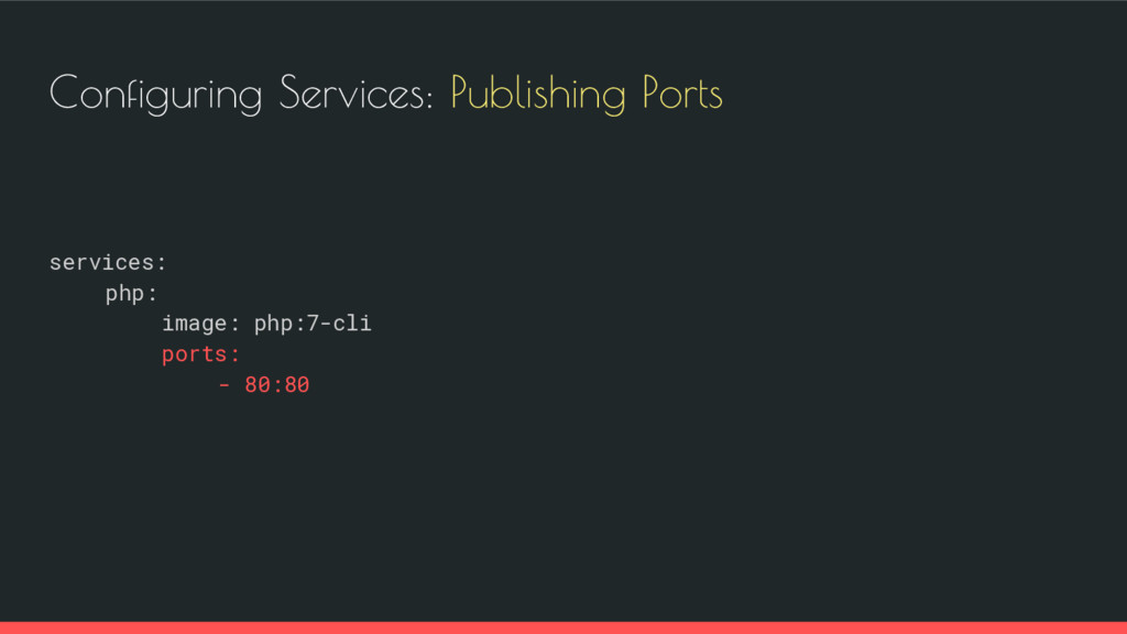 Configuring Services: Publishing Ports services...