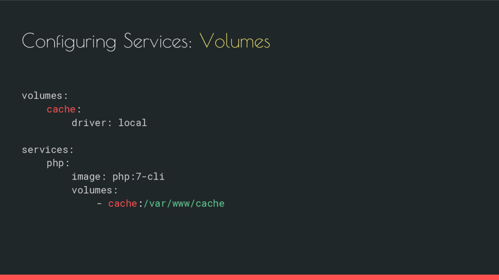 Configuring Services: Volumes volumes: cache: d...