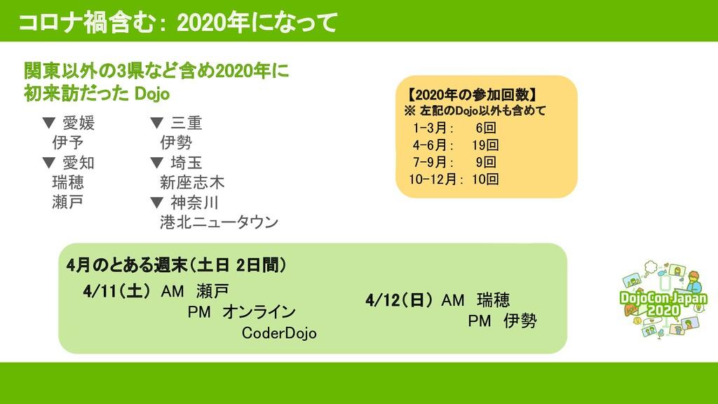コロナ禍含む: 2020年になって 関東以外の3県など含め2020年に 初来訪だった Do...