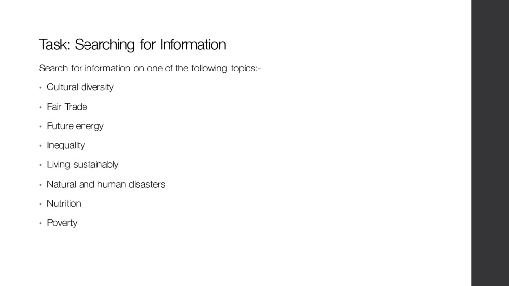 Search for information on one of the following ...