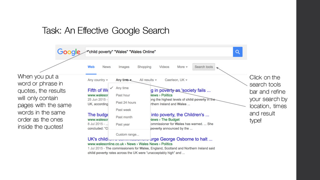 Task: An Effective Google Search Click on the s...