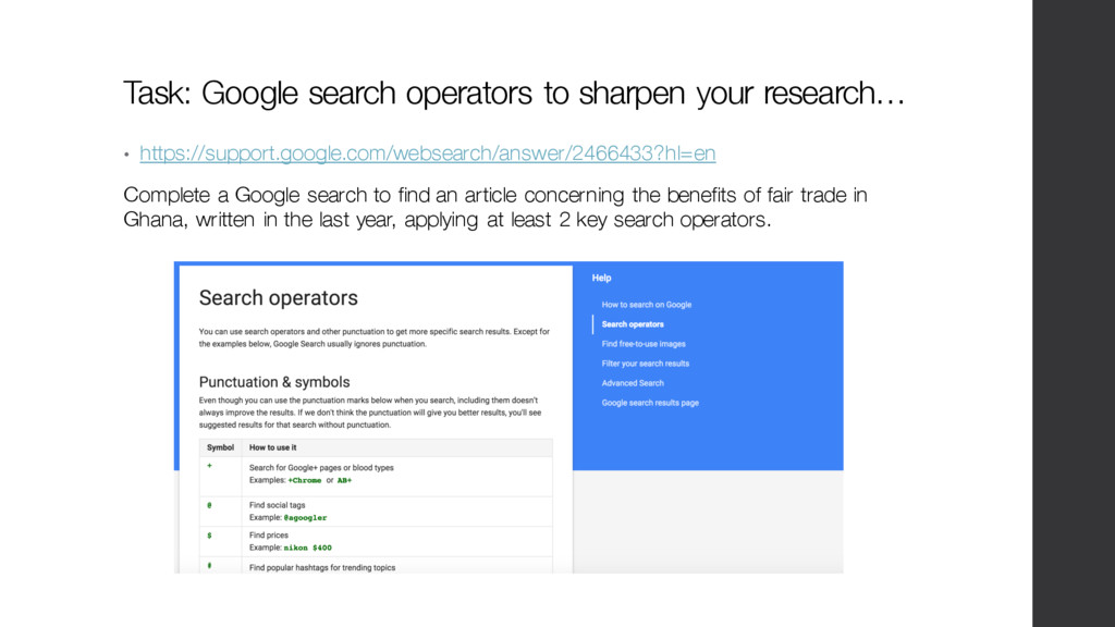 Task: Google search operators to sharpen your r...