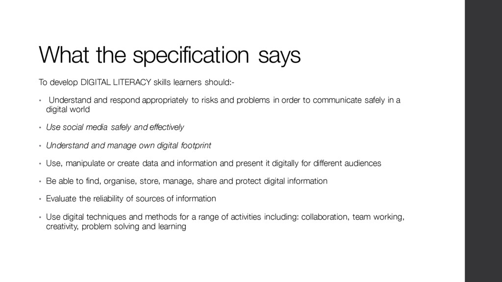 What the specification says To develop DIGITAL ...