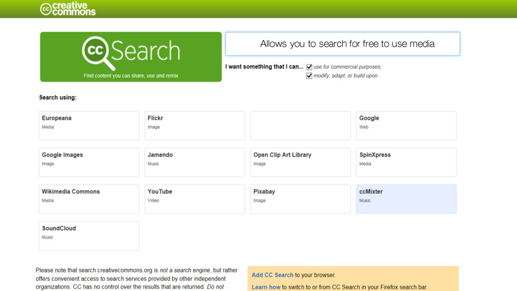 Allows you to search for free to use media