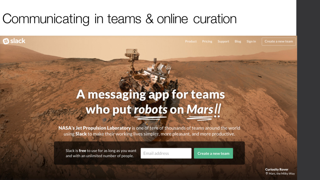 Communicating in teams & online curation