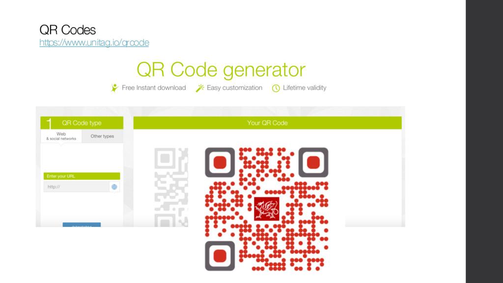 QR Codes https://www.unitag.io/qrcode